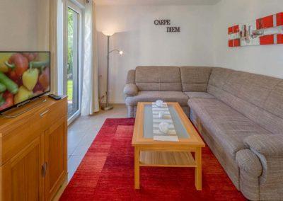 Blick in ein Ferienhaus Wohnzimmer