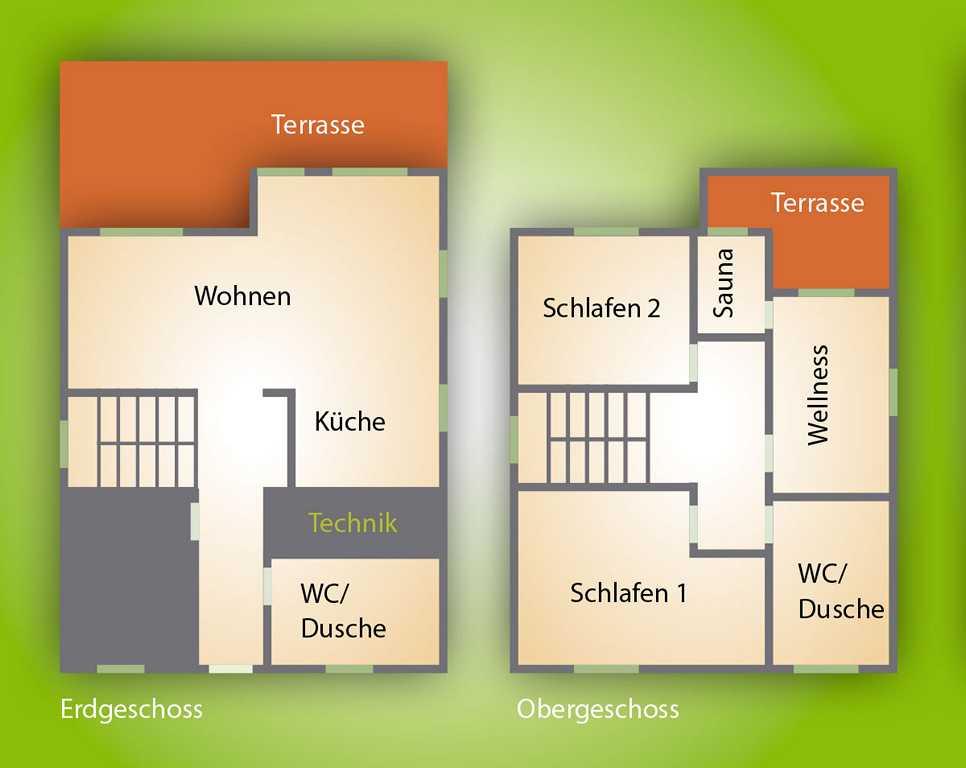 Grundriss Ferienhaus für bis zu sechs Gäste