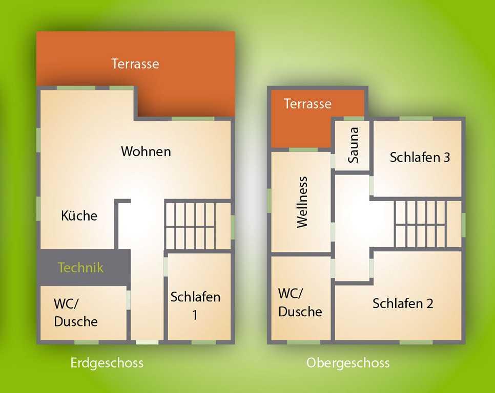 Ferienhaus Grundriss für bis zu acht Gäste